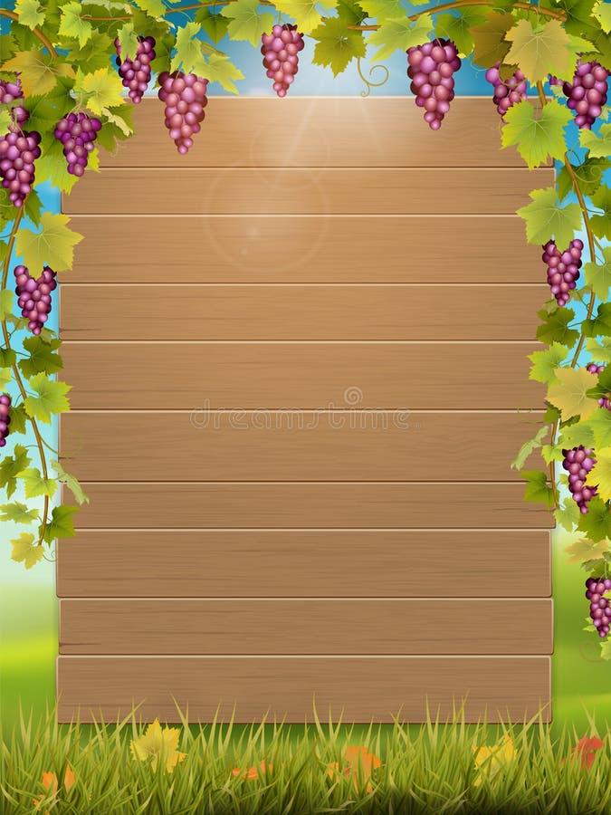 Traubenbogen und -Holzschild lizenzfreie abbildung