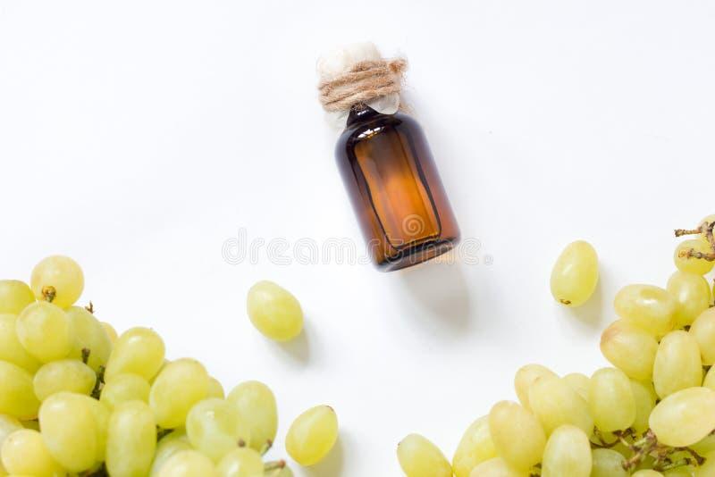 Traubenkernöl: Samenauszug hat Antioxidans- und die Ernährung die Haut lizenzfreie stockfotografie