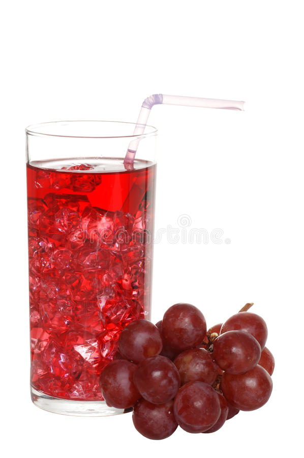 Traubensaft mit Eis und Frucht stockfoto