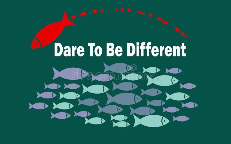 Trauen Sie sich, unterschiedliches Erfolgskonzept mit kleiner Fischgruppe zu sein vektor abbildung