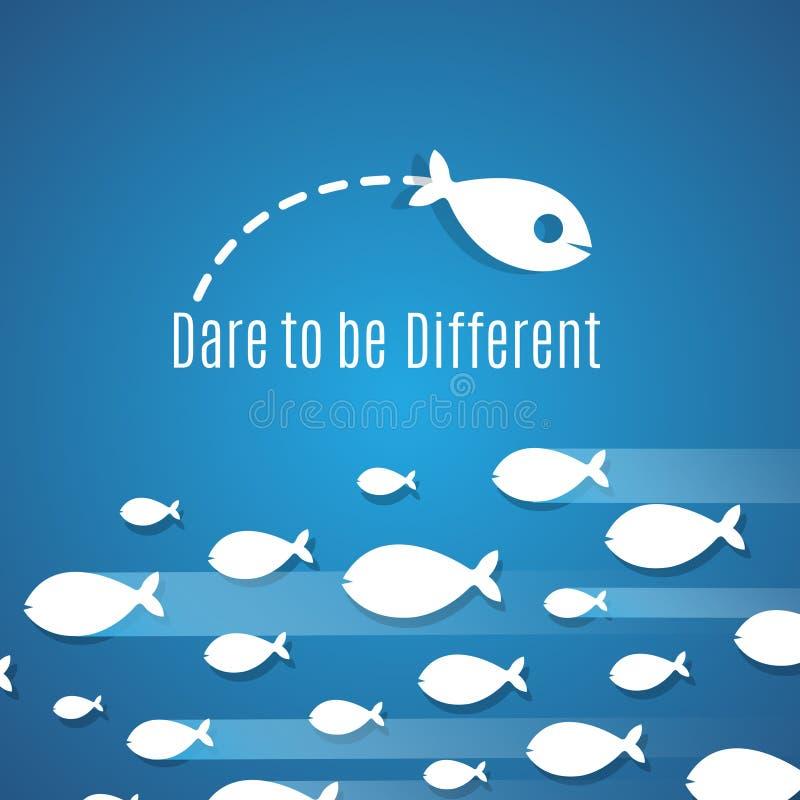 Trauen Sie sich, unterschiedliches Erfolgslösungs-Vektorkonzept mit kleiner Fischgruppe zu sein lizenzfreie abbildung
