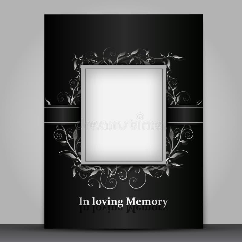Trauerkartenstandardgröße mit dem Fotorahmen lokalisiert auf grauem Hintergrund vektor abbildung