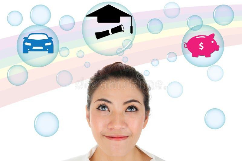Traum der jungen Frau über erfolgreiche Zukunft lizenzfreies stockfoto