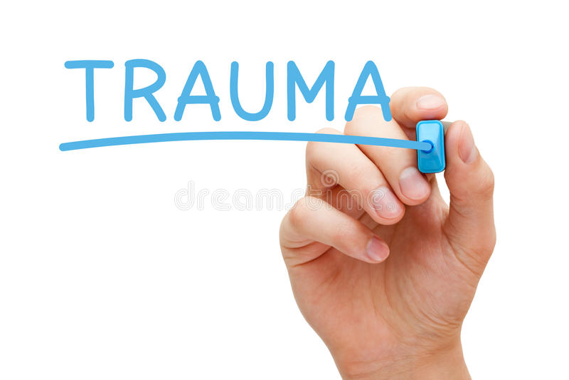 Trauma som är handskriven med den blåa markören arkivfoton