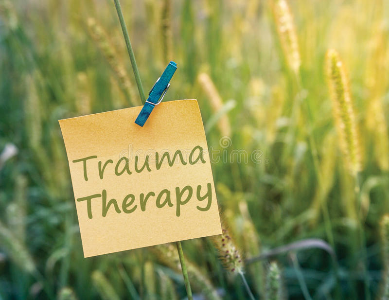 Trauma Therapy. On sticky note in a green grass field stock images