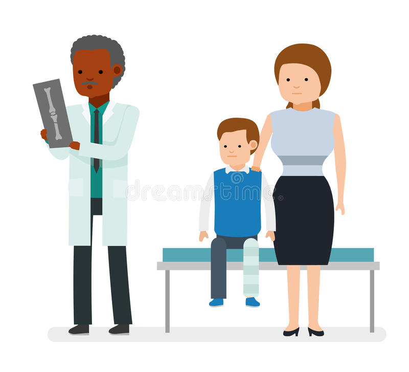 The traumatologist. The boy broke his leg, sitting on the couch with his mother. Leg plastered. Doctor looking at an x-ray. Vector illustration in a flat style vector illustration