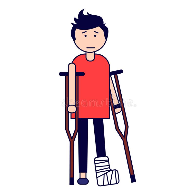 Traumatology. A boy with a broken leg on crutches. Isolated on white background. Vector illustration royalty free illustration