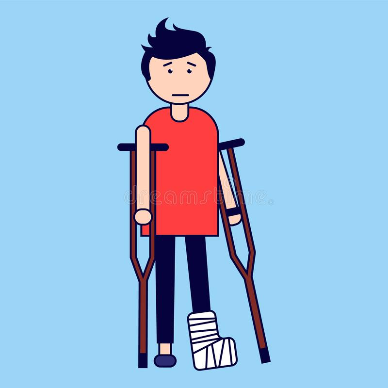 Traumatology. A boy with a broken leg on crutches. Vector illustration vector illustration
