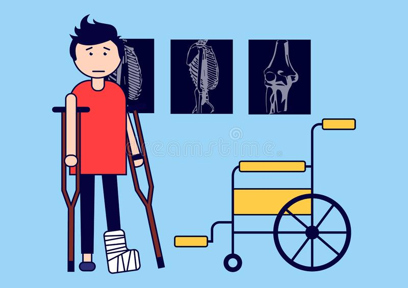 Traumatology. A boy with a broken leg on crutches and with a wheelchair. X-rays. Vector illustration. Vector illustration stock illustration