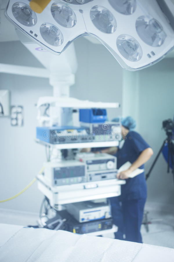 Traumatology orthopedic surgery hospital operating room. Traumatology orthopedic surgery hospital emergency operating room prepared for arthroscopy operation royalty free stock photo
