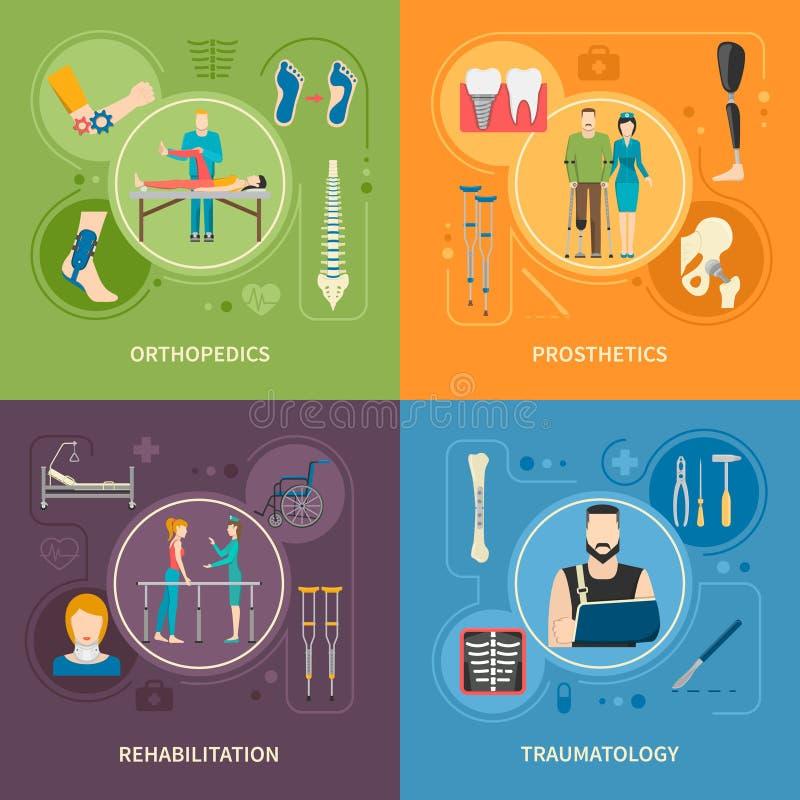 Traumatologyortopedi 2x2 sänker bilder stock illustrationer