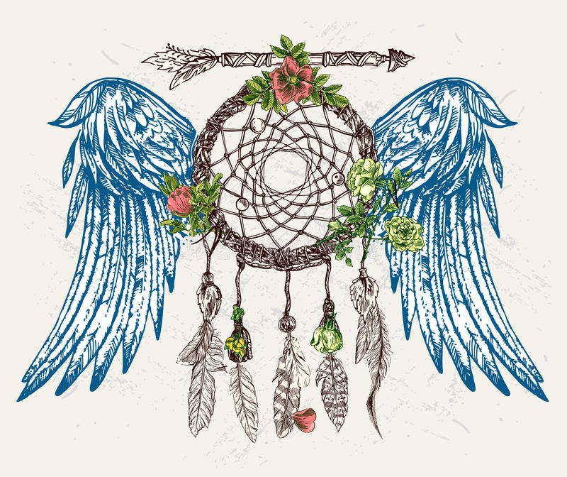 Traumfänger mit Flügeln lizenzfreie abbildung