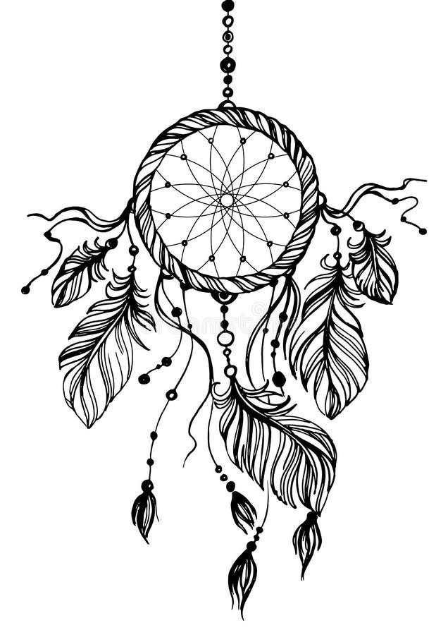Traumfänger, traditionelles gebürtiges indianisches Symbol stock abbildung