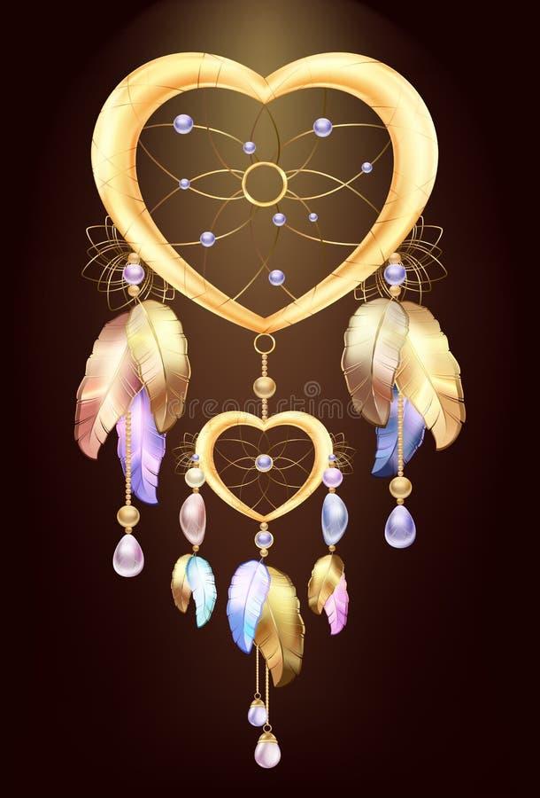 Traumfängerschmuck mit Federn Fantastisches magisches Dreamcatcher-Herz formte farbiges Metall und Goldfedern und -Edelsteine vektor abbildung