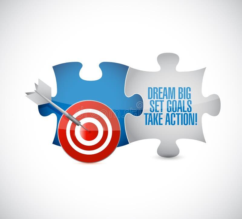 Traumgroße, Satz, Ziele, nehmen Aktionsziel-Puzzlespielstücke lizenzfreie abbildung