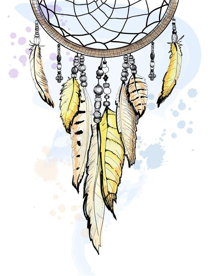 Traumskizzen-Aquarellillustration des fängers Hand gezeichnete stock abbildung