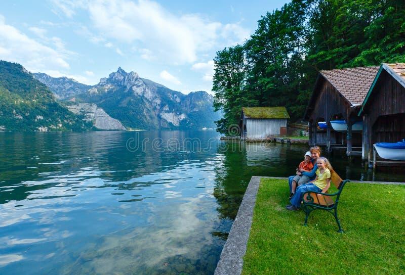 Traunsee夏天湖(奥地利)。 图库摄影