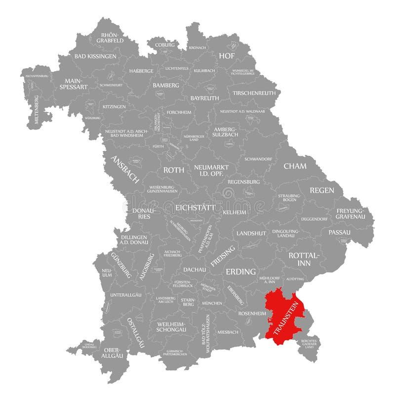 Traunstein okręgu administracyjnego czerwień podkreślająca w mapie Bavaria Niemcy ilustracji
