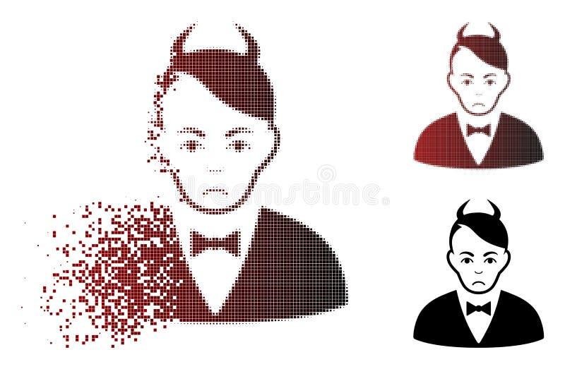 Traurig aufgelöste Halbtonteufel-Ikone Pixelated vektor abbildung