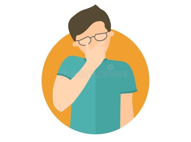 Traurig, schreiend, niedergedrückter Junge in den Gläsern Flache Designikone Gut aussehender Mann im Leid, Sorge, Problem Einfach vektor abbildung