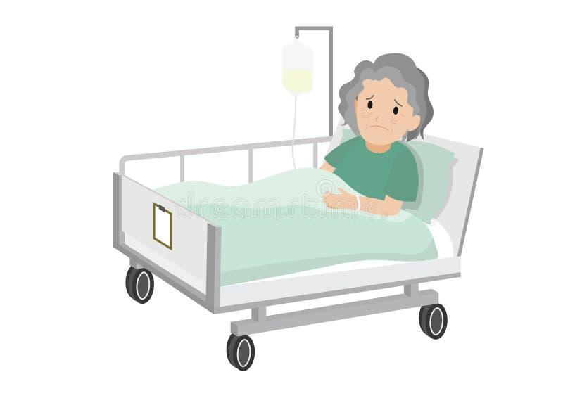 Traurige alte Frau, die in einem Krankenhausbett liegt lizenzfreie abbildung