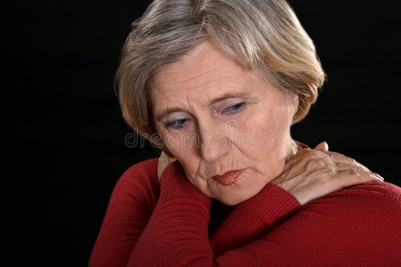 Traurige fällige Frau lizenzfreies stockfoto