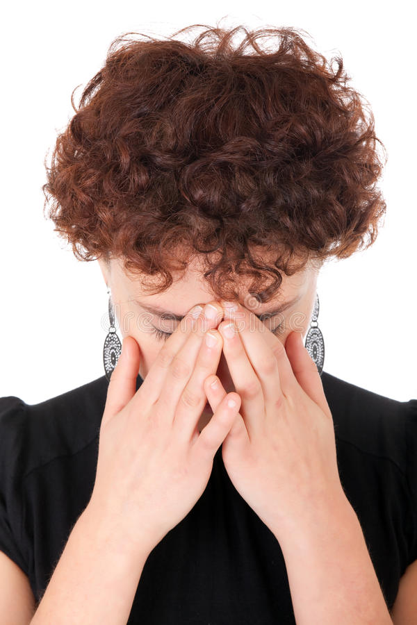 Download Traurige Frau stockfoto. Bild von hände, müde, frustration - 12200260