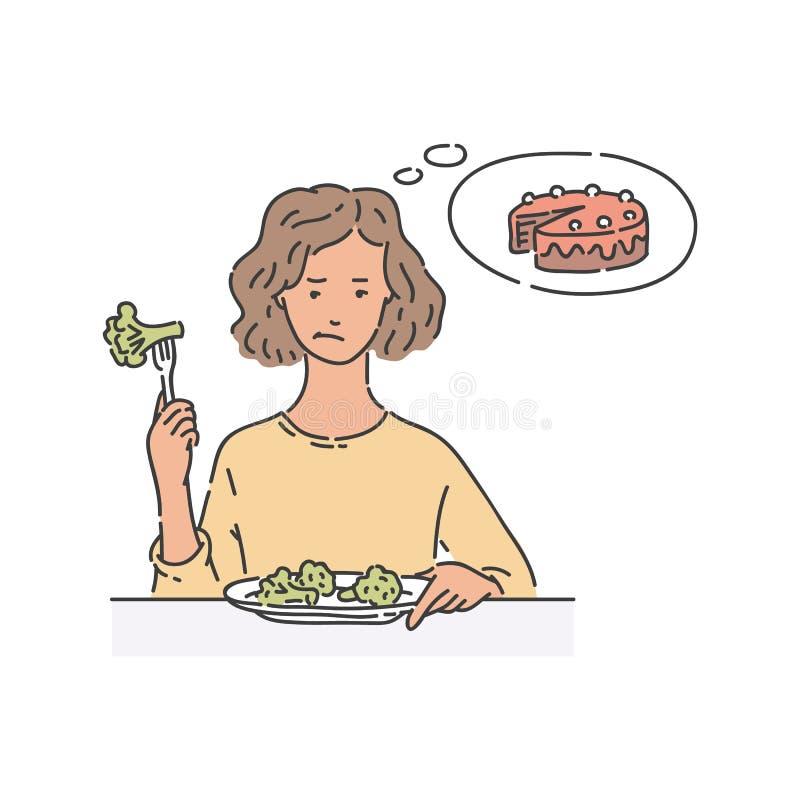Traurige Frau sitzt bei Tisch, Brokkoli essend und an Kuchenskizzenart denkend stock abbildung