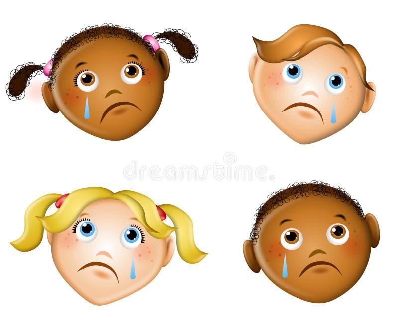 Traurige Gesichter der Kinder stock abbildung