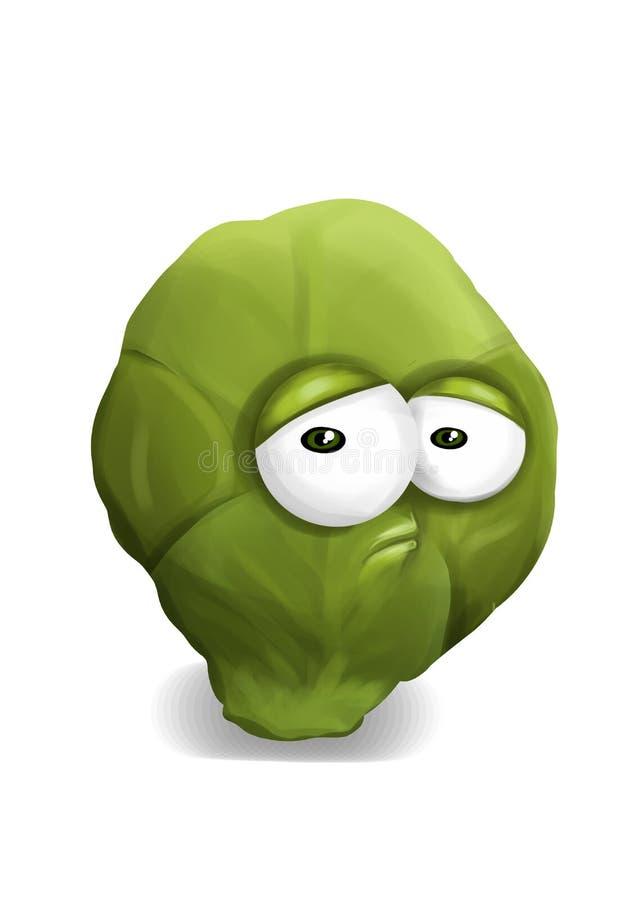 Traurige grüne Rosenkohlkarikatur, ein deprimierter, enttäuschter Charakter, stehend auf einem weißen Hintergrund. lizenzfreie abbildung