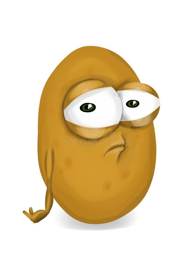 Traurige Kartoffel, enttäuschte Gemüsezeichentrickfilm-figur mit unglücklichen Augen stock abbildung