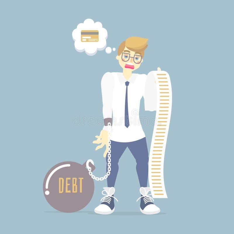 Traurige Mannholding und Betrachten einer langen Kreditkarterechnung, Steuer, Schuldkonzept lizenzfreie abbildung
