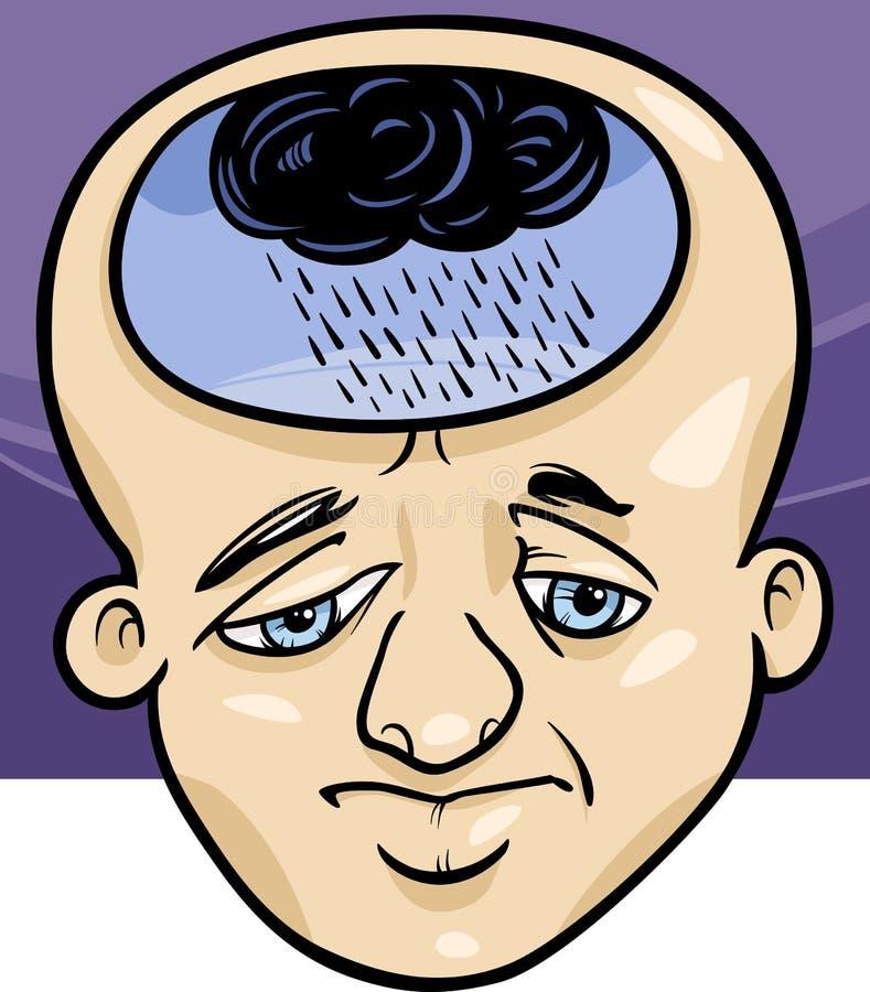 Traurige Mannkonzept-Karikaturillustration vektor abbildung