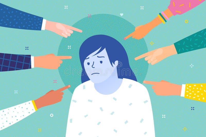 Traurige oder deprimierte Frau umgeben durch Hände mit den Zeigefingern, die auf sie zeigen lizenzfreie abbildung