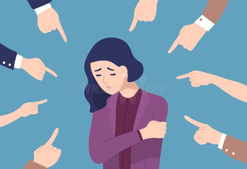 Traurige oder deprimierte junge Frau umgeben durch Hände mit den Zeigefingern, die auf sie zeigen Konzept der Steppdecke, Anklage lizenzfreie abbildung