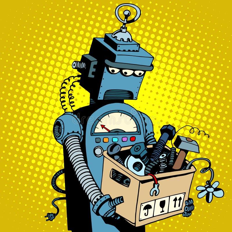 Traurige Retro- Roboterblattarbeit lizenzfreie abbildung