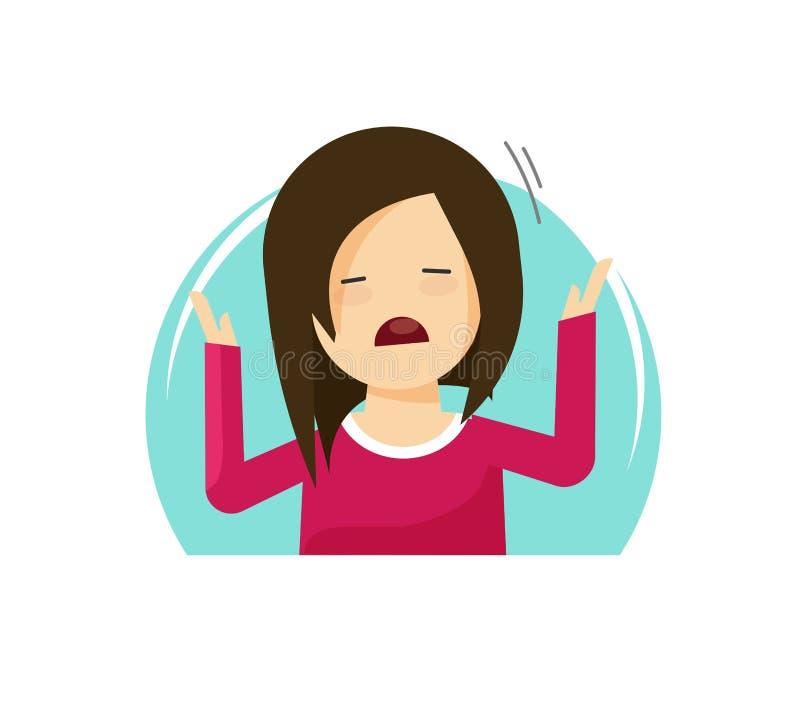 Traurige schreiende Mädchenvektorillustration, müde oder betont, umgekippte Person der unglücklichen Frau der flachen Karikatur f vektor abbildung