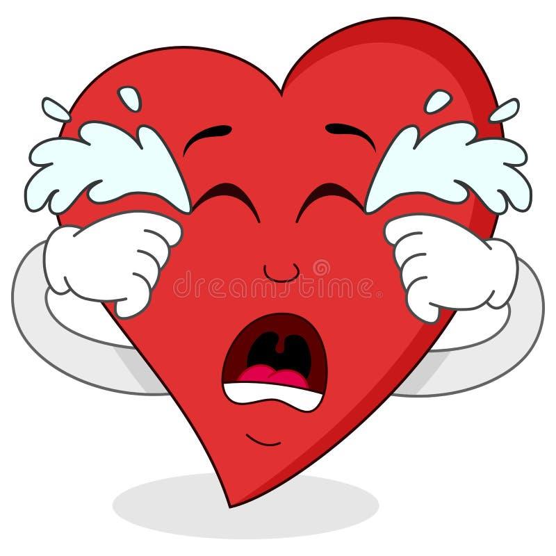 Traurige schreiende rote Herz-Zeichentrickfilm-Figur vektor abbildung