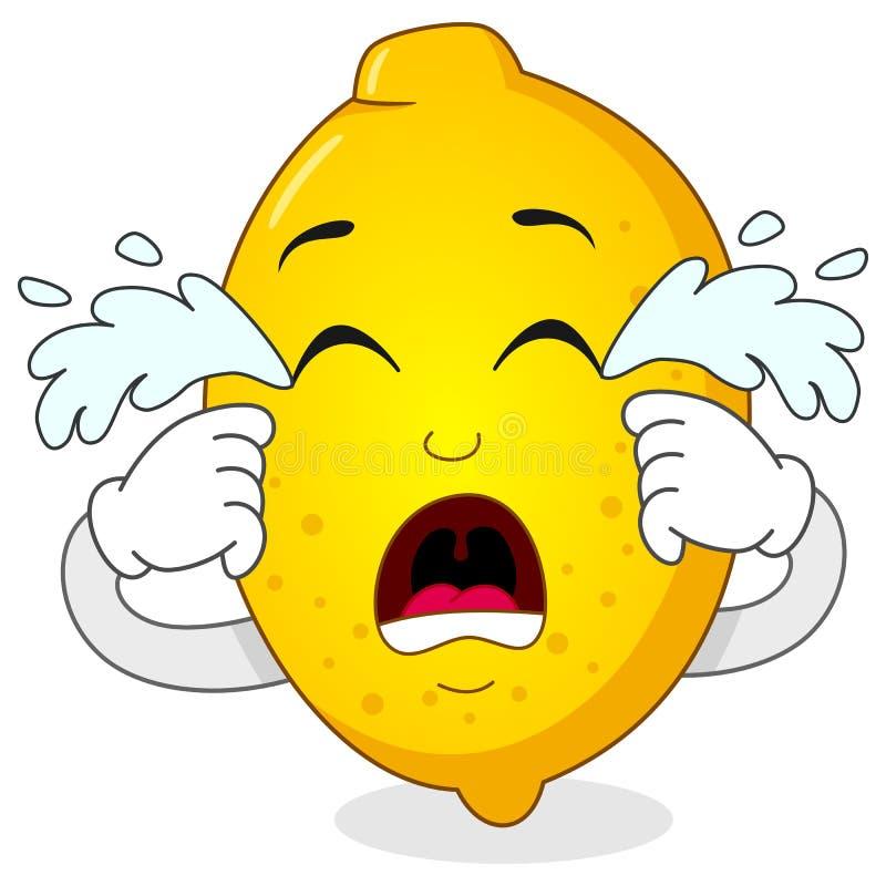 Traurige schreiende Zitronen-Zeichentrickfilm-Figur stock abbildung