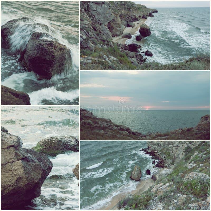 Traurige Seeküstenlandschaft der Fernplatz-, Krisen- und Einsamkeitskonzeptcollage stockbild