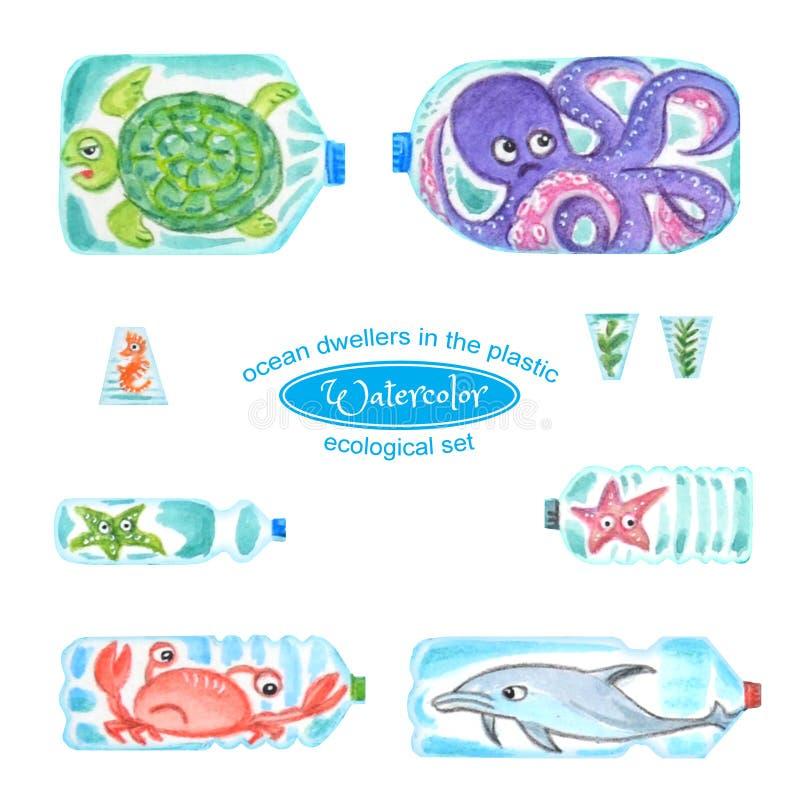 Traurige Seetiere in den Plastikflaschen sind- mit Meeresverschmutzung unglücklich lizenzfreie abbildung
