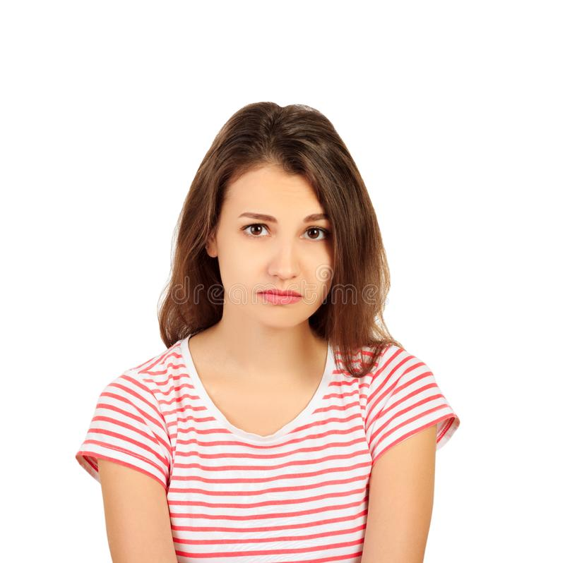 Traurige unglückliche Frau des Porträts lokalisiert auf weißem Hintergrund emotionales Mädchen lokalisiert auf weißem Hintergrund stockbilder
