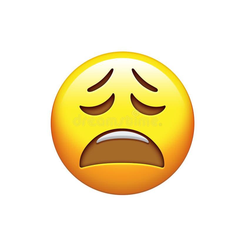 Traurige, unglückliche und glaubende deprimierte gelbe Gesichtsikone Emoji lizenzfreie abbildung