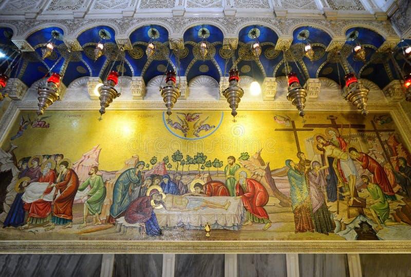 Traurige Weise von Jesus, das heilige Mosaik begraben Kirche lizenzfreies stockfoto