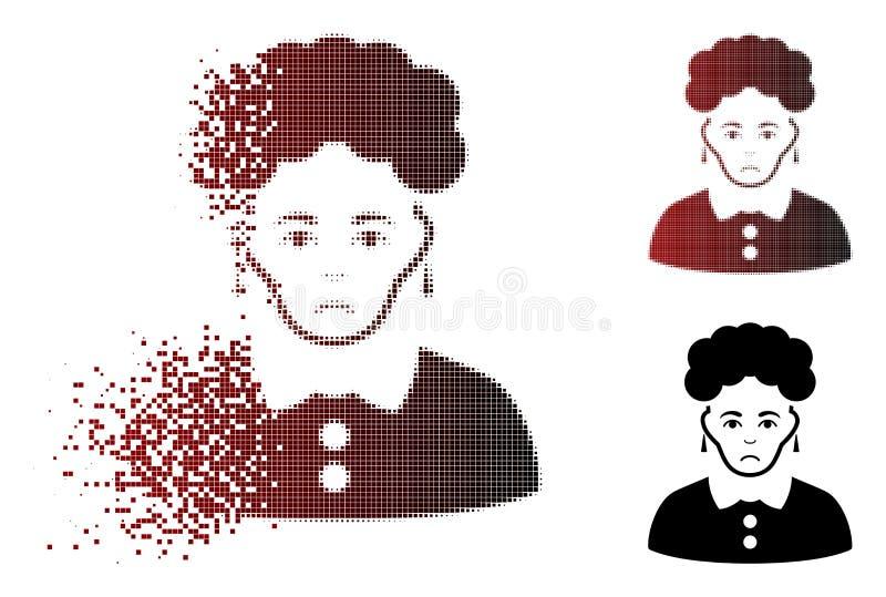 Traurige zerbrochene brunette-Frauen-Ikone Pixelated Halbton stock abbildung