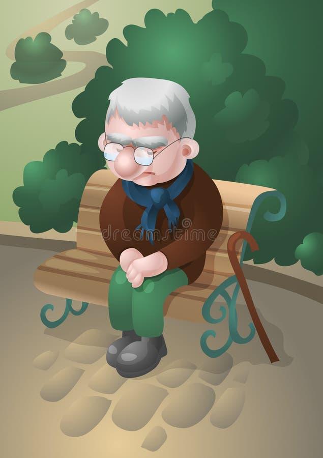 Trauriger alter Mann stock abbildung