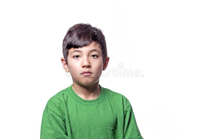 Trauriger Ausdruck auf Jungen lizenzfreie stockbilder