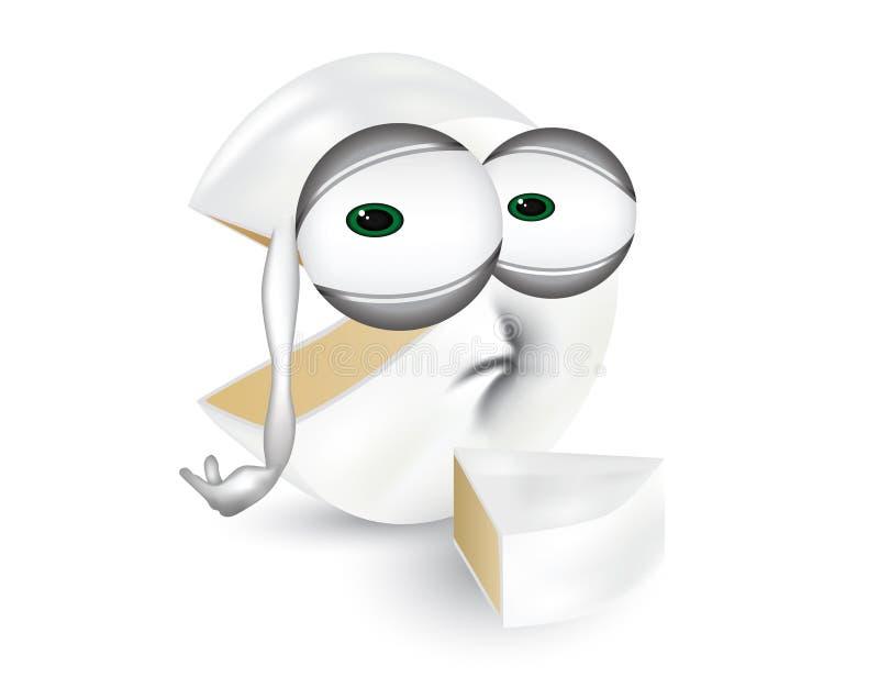 Trauriger Camembertkäse, enttäuschte Molkereizeichentrickfilm-figur-Illustration mit unglücklichen Augen vektor abbildung