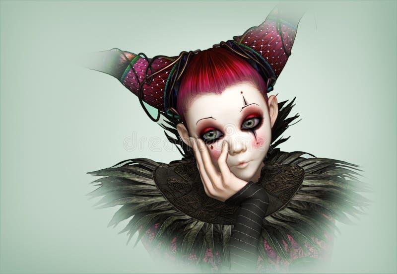 Trauriger Clown, 3d CG lizenzfreie abbildung