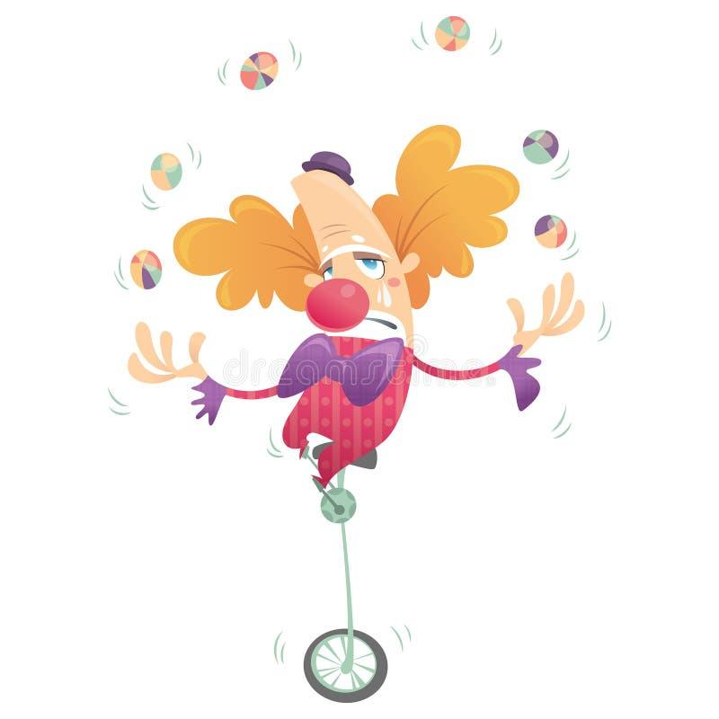 Trauriger Clown der Karikatur, der in einem Radfahrrad jongliert und schreit stock abbildung